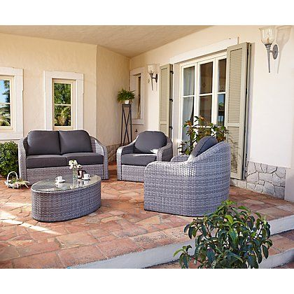 Mitiaro 4 Piece Sofa Set - Grey and Charcoal | Home & Garden ...