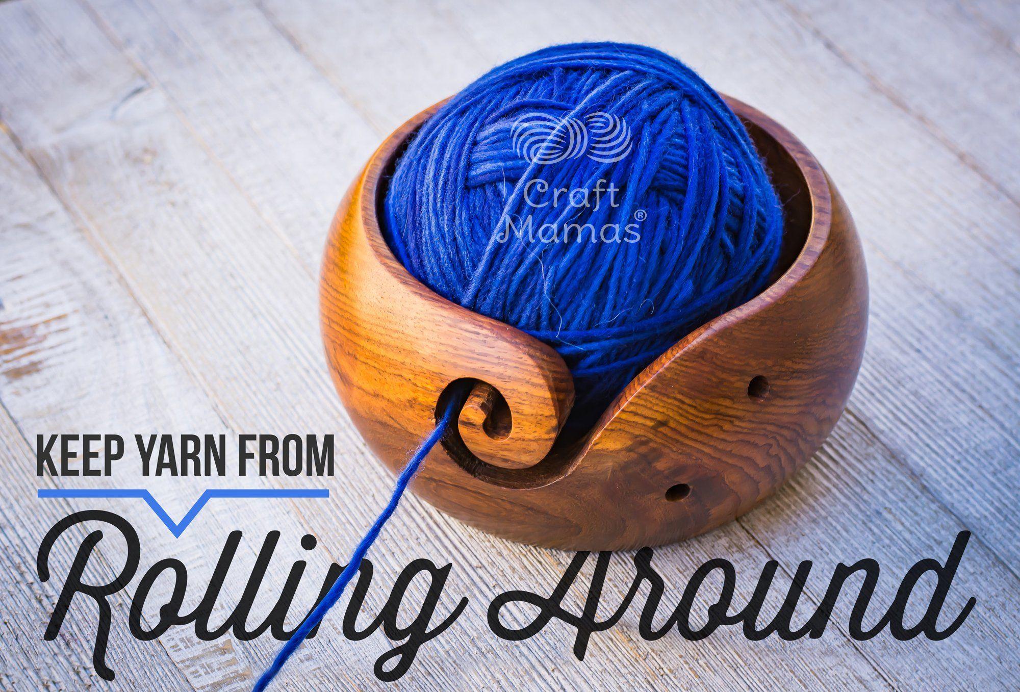Wooden Yarn Bowl Holder Rosewood Knitting Bowl W//Holes Storage Crochet Yarn