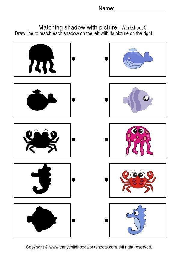 match sea animal shadow worksheet | Ülkü | Pinterest | Worksheets ...