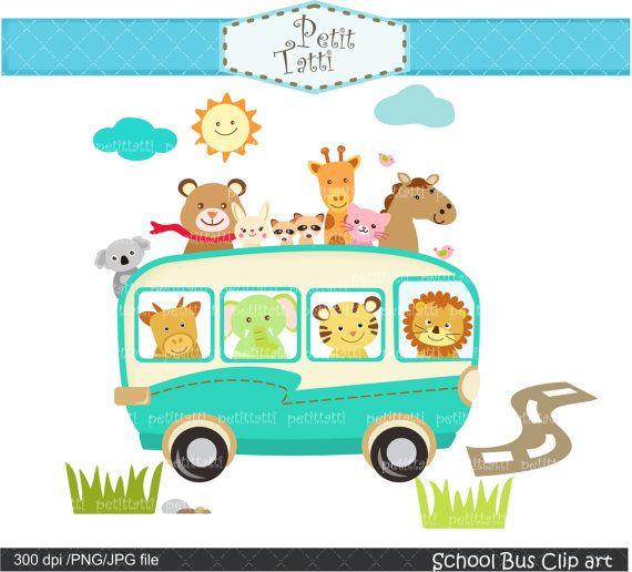 On Sale School Bus Clip Art Animals Clip Art Field By Petittatti Cute Animal Clipart Animal Clipart Clip Art