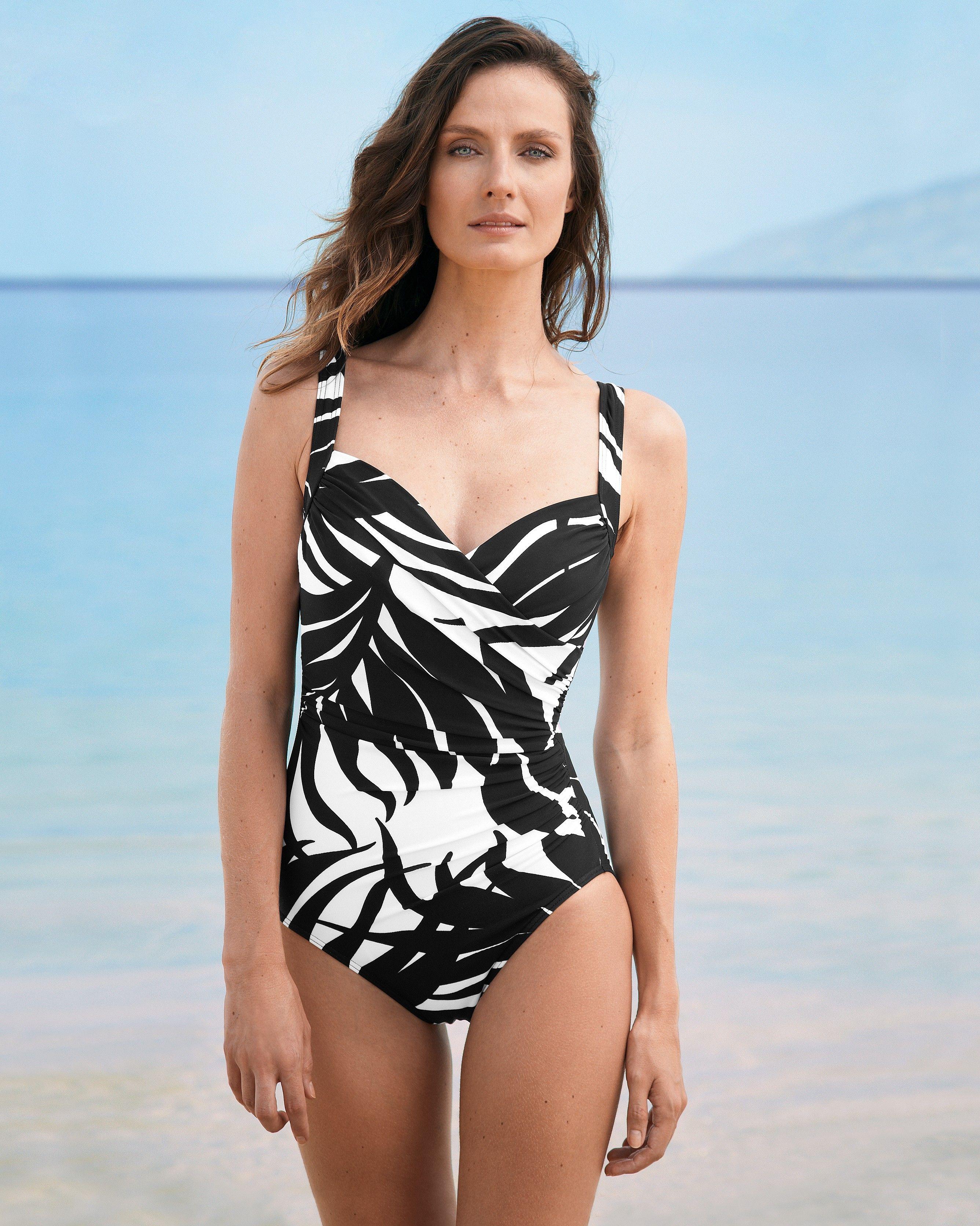930b7b66575 Miraclesuit® Sanibel One-Piece Swimsuit - Black & White Print   Eddie Bauer