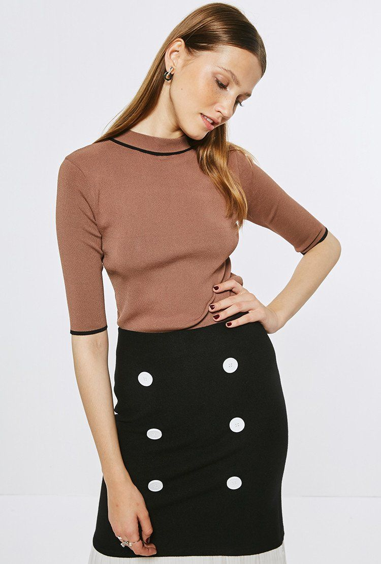 Coffee Knit Top With Half Sleeves TP1587 – FEW MODA