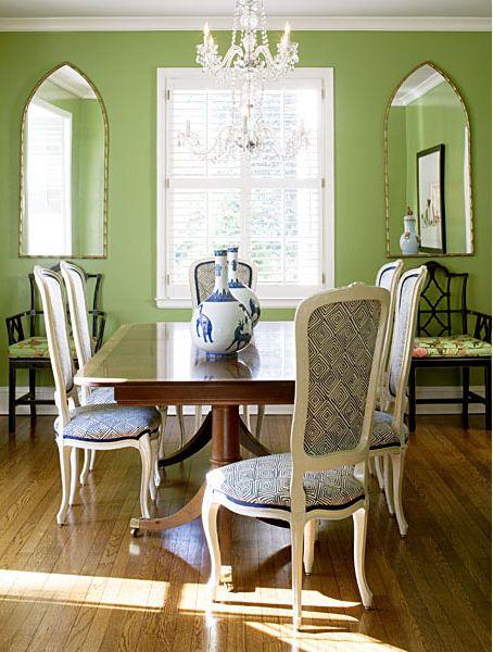 Green Walls Green Dining Room Dining Room Table Set Interior
