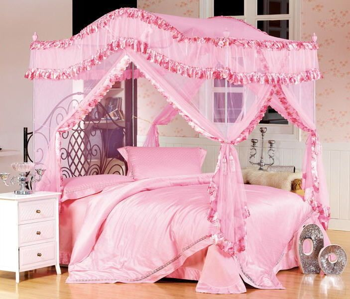 Bed Canopy Mosquito Net W Stainless Steel Pole Set Pink For