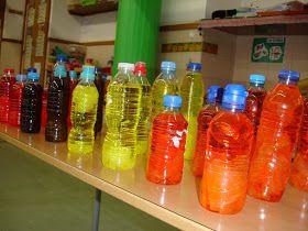 Una manera de treballar els colors a P-3 pot ser fent experiments amb l'aigua i papers de colors.En aquest cas utilitzem ampolles d'aigua pe...