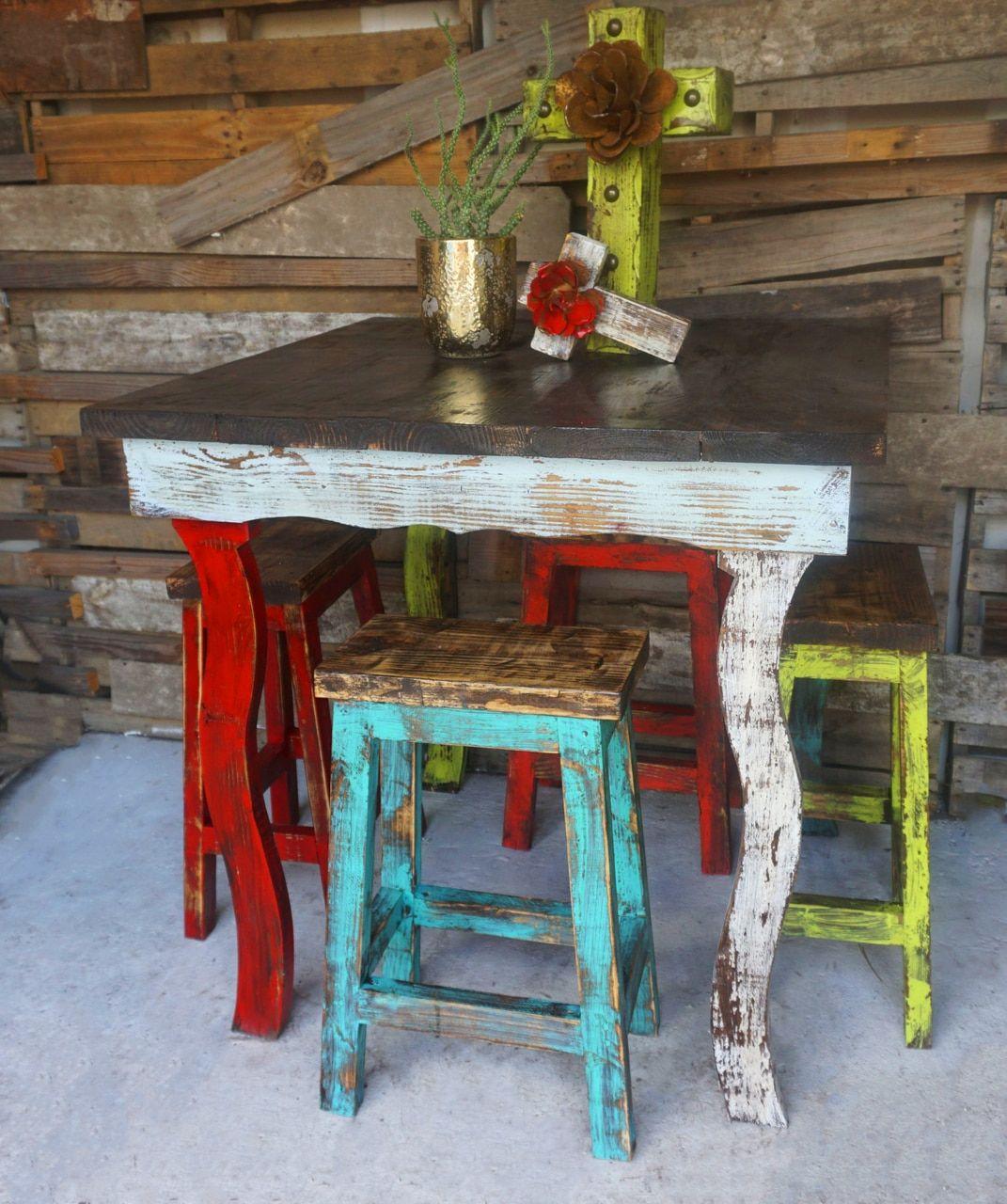 Catalina- Bar Table & Stool Set | Rustic kitchen tables ...