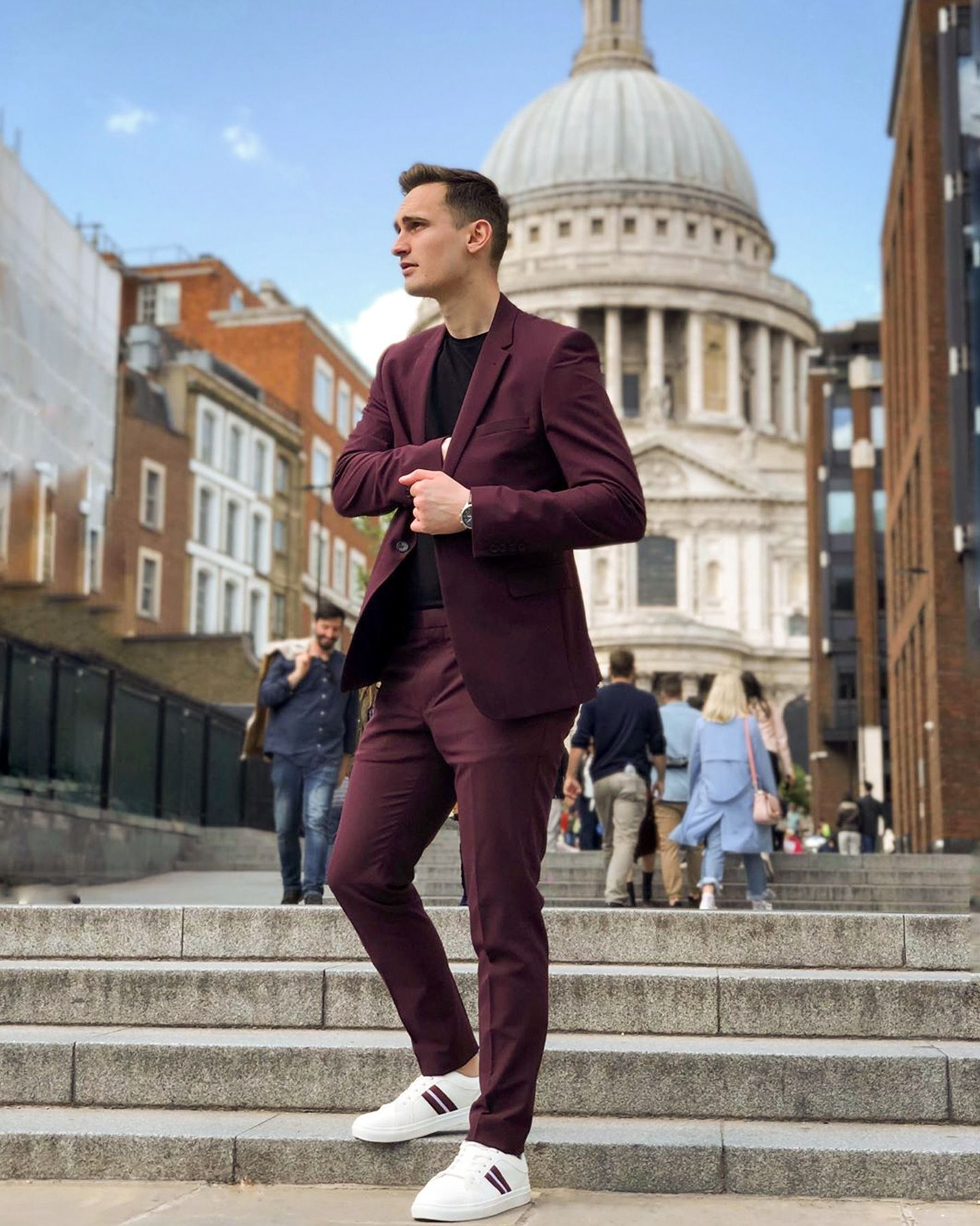 Burgundy suit men