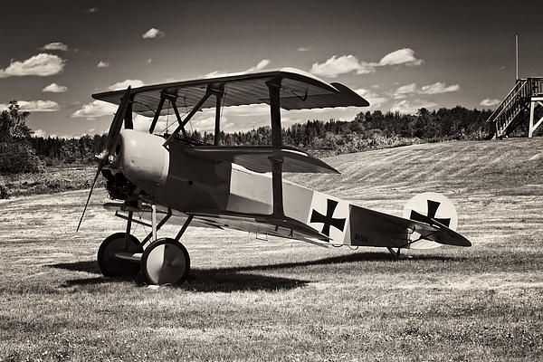 Black and white photo poster print of antique world war 1 red barron fokker triplane