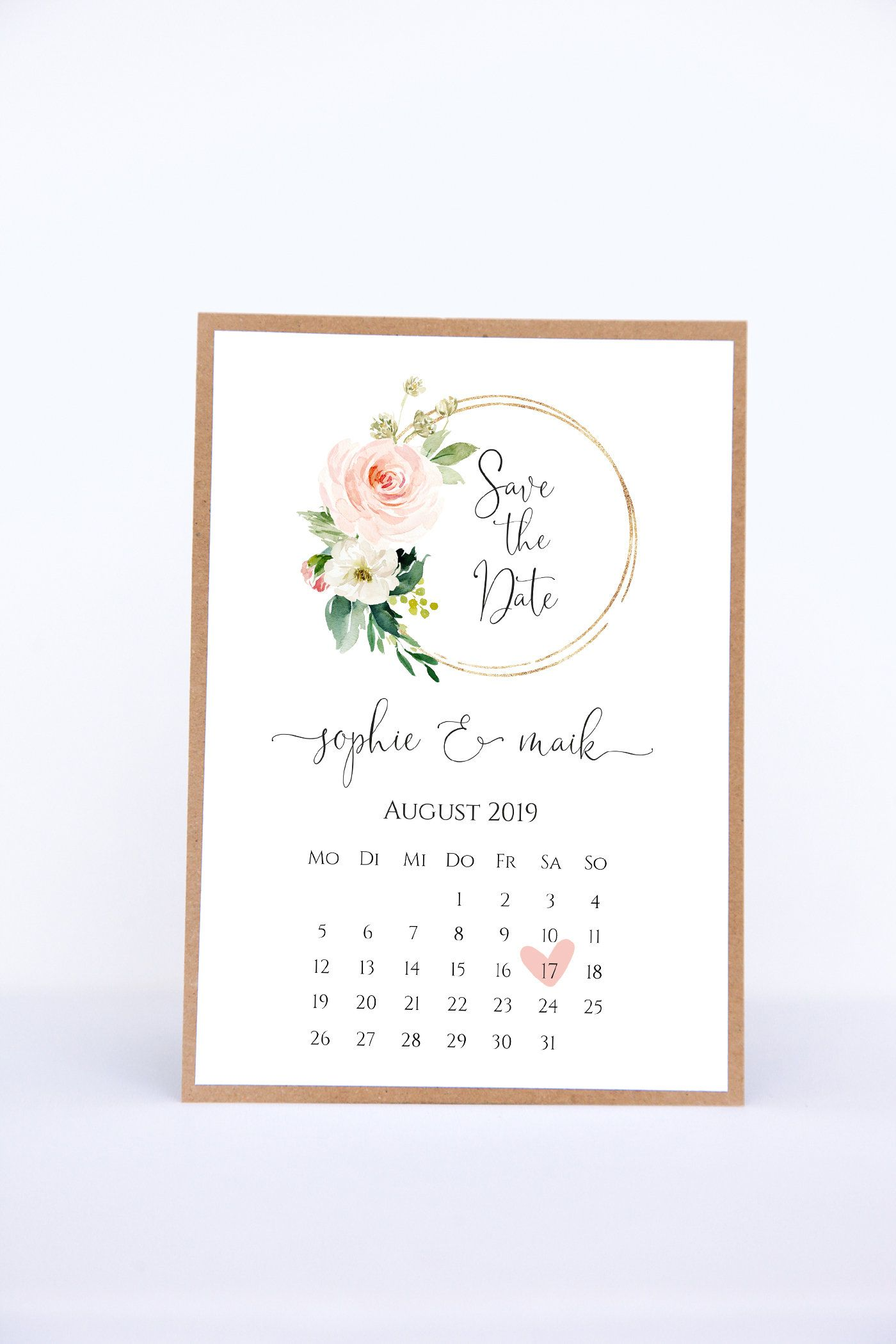 Save The Date Cards With Calendar Sheet Sophie Maik Etsy In 2020 Save The Date Cards Wedding Stationery Wedding Invitations