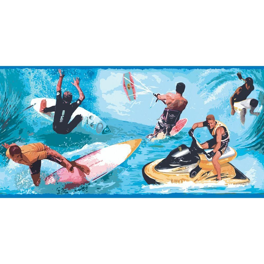 10.25 in. x 15 ft. Primary Colored Water Sports Border, Blues
