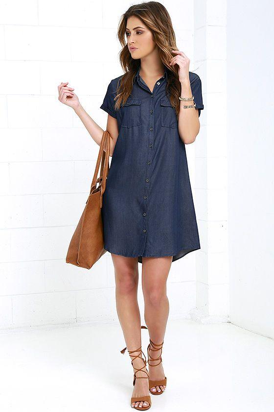 541c6b6cc Glamorous Scholastic Dark Blue Chambray Shirt Dress at Lulus.com!