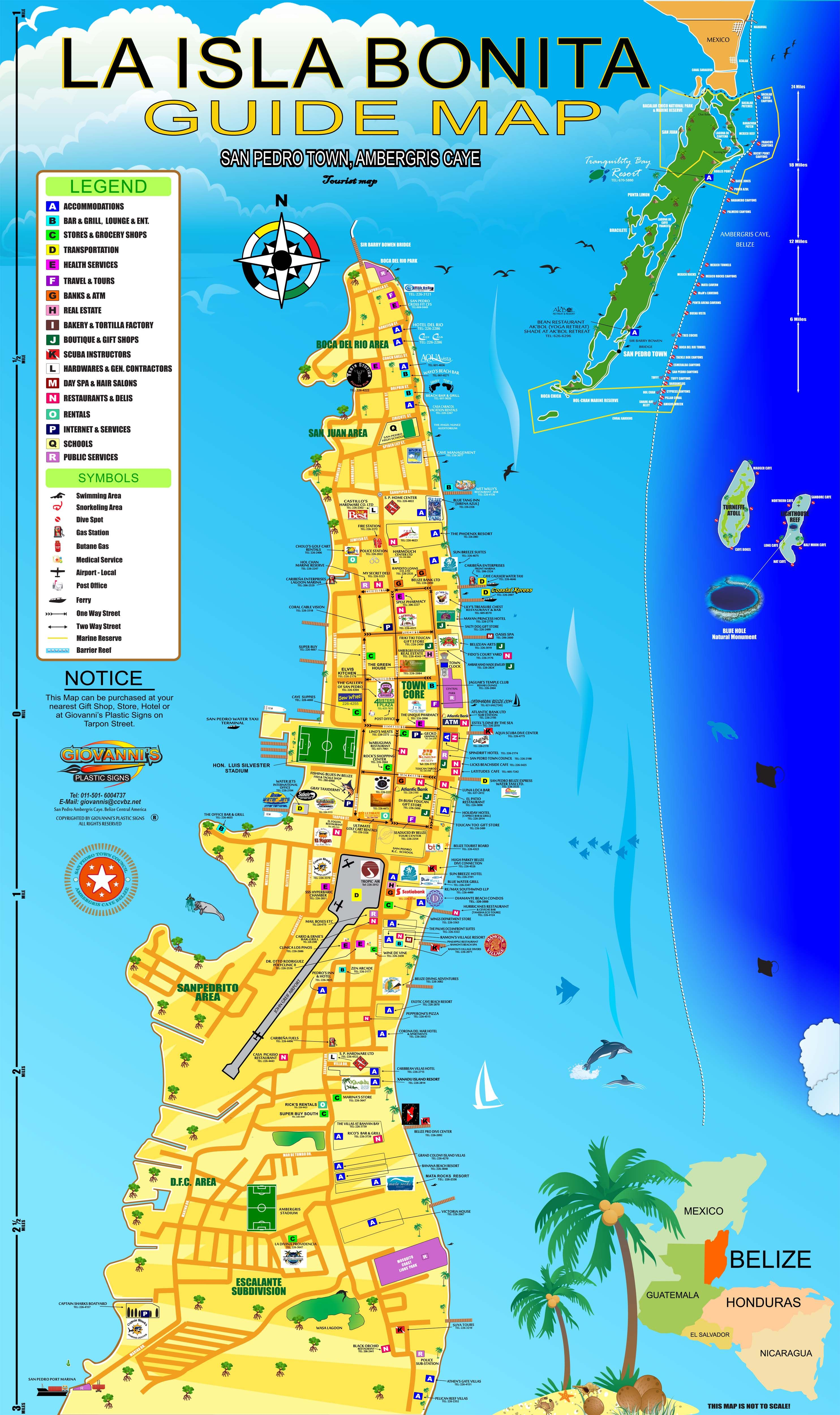 Map Of San Pedro Belize Belize Maps, Ambergris Caye, San Pedro, Caribbean and Central