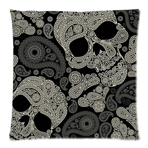 Fancy Skull Damask Floral Pattern Sugar Skull Cushion Cover Case Zippered Pillow Cover Square Throw Pillow Shell Pillowcase for Sofa 18 X 18 Inch (Twin Sides) Skull Pillow Case http://www.amazon.ca/dp/B00U5U7W42/ref=cm_sw_r_pi_dp_YgrRwb1N7PZFX