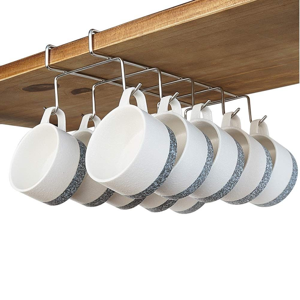Coffee Mug Holder 304 Stainless Steel Cup Rack Under Cabinet 10hooks Fit For The Cabinet 0 8 In 2020 Coffee Mug Holder Mug Holder Stainless Steel Cups