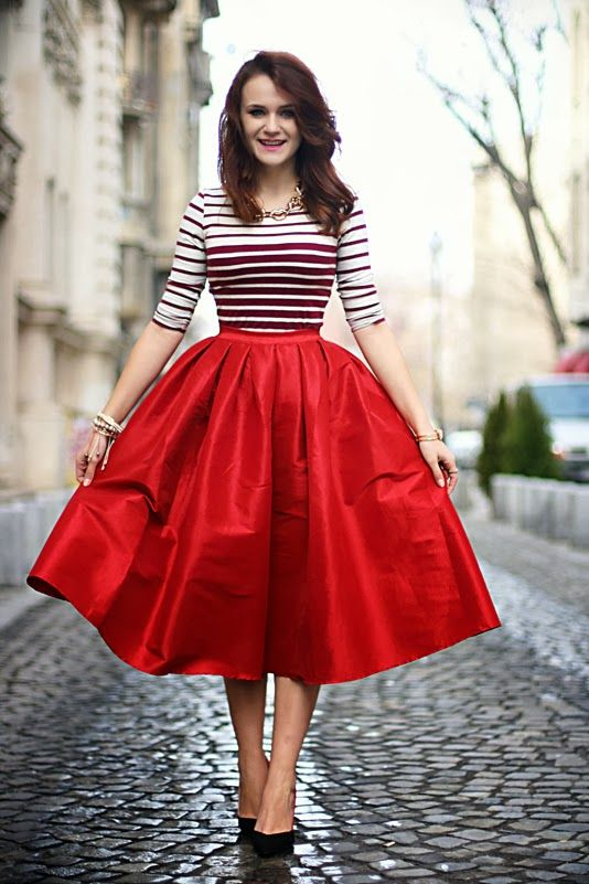 Red Full Skirt With A Striped Top. Great Blend Of Casual