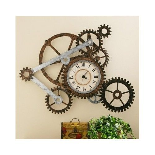 Rustic Wall Clock Industrial Metal Gears Vintage Home Art Modern Decor Large New In Home Garden Home Decor Clock Wall Art Rustic Wall Clocks Gear Wall Clock