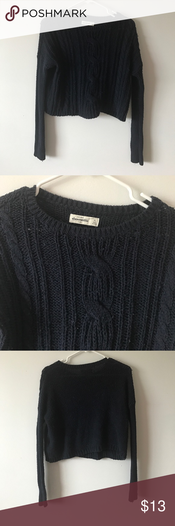 Navy Blue Cropped Sweater | Abercrombie fitch, Navy blue and Flaws
