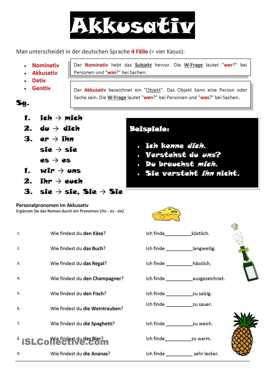 akkusativ | Deutschkurs | German grammar, German language ...