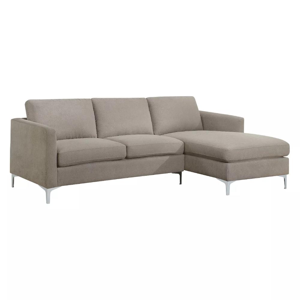 Iohomes Hefley Contemporary Fabric Sectional Sofa Warm Gray
