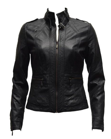 Ladies Black Synthetic Leather Jacket w/ Belt Strap Collar :: $41