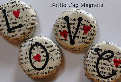 Bottle Cap Magnets w/ book pages and bubble letters.  LOVE...perfect for Valentine's Day craft. #bottlecaps