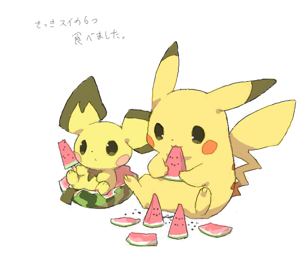 Pikachu and picchu eating watermelon together.