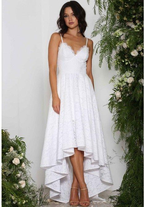 Elle Zeitoune Sara Lace High-Low Dress in White | Elle Zeitoune ...