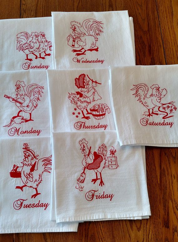 d60ed75dd78508 Days of the Week dish towels are so popular! These are redwork roosters  embroidered on