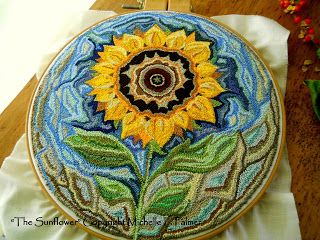 Michelle Palmer The Sunflower punch needle original design. DMC floss