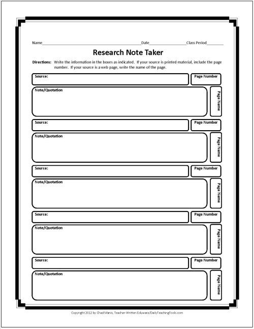 These free graphic organizers include note taking charts for Novel notes template
