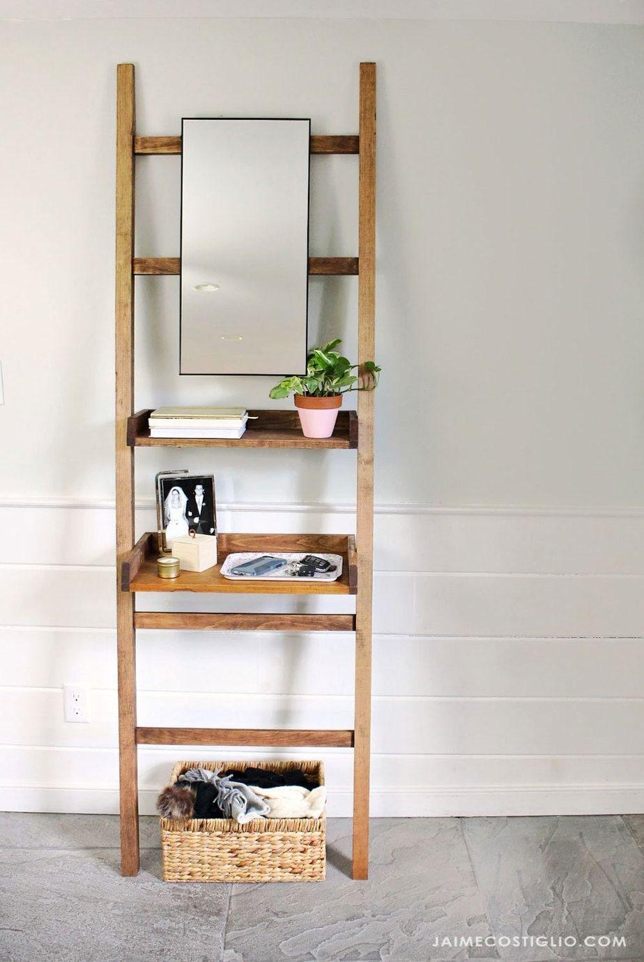 Diy Leaning Shelf For Entry Or Vanity Leaning Shelf Easy Home