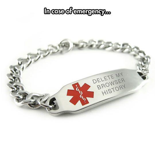 Red Black /& Silver Hearts Chain Custom Engraved FREE Medical ID Bracelet i2C-B11