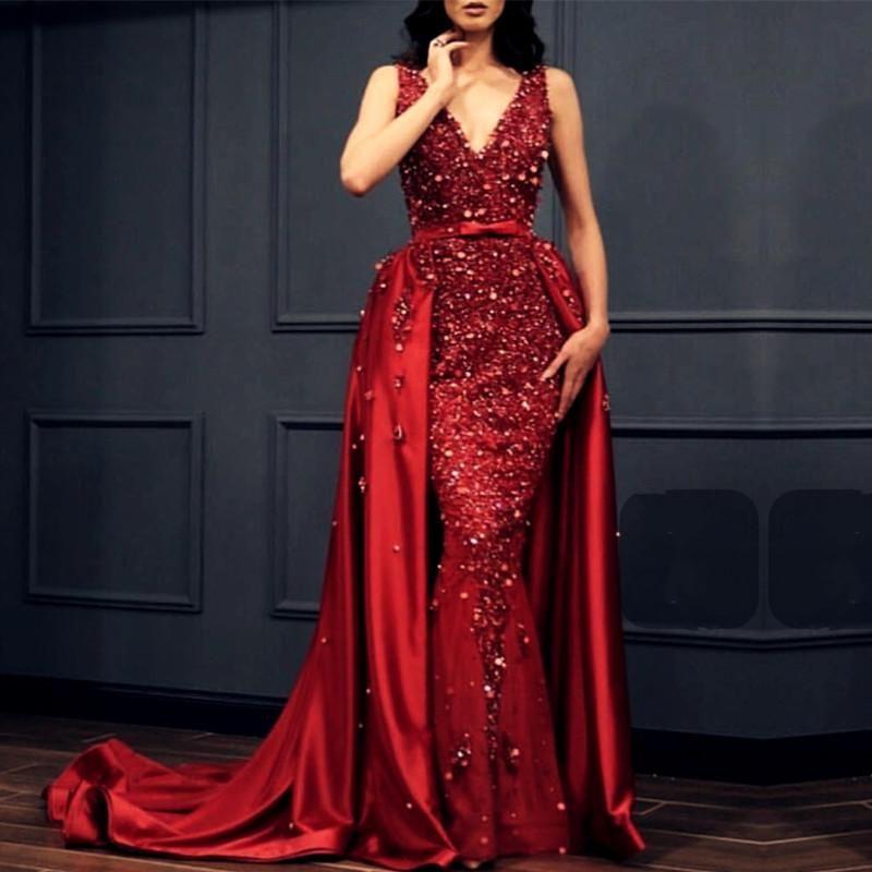 Charming Crystal Beaded Lace V Neck Mermaid Evening Dress
