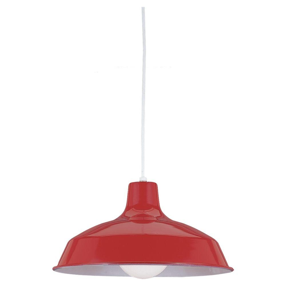 Sea Gull Lighting 1 Light Red Pendant With Painted Shade 6519 21