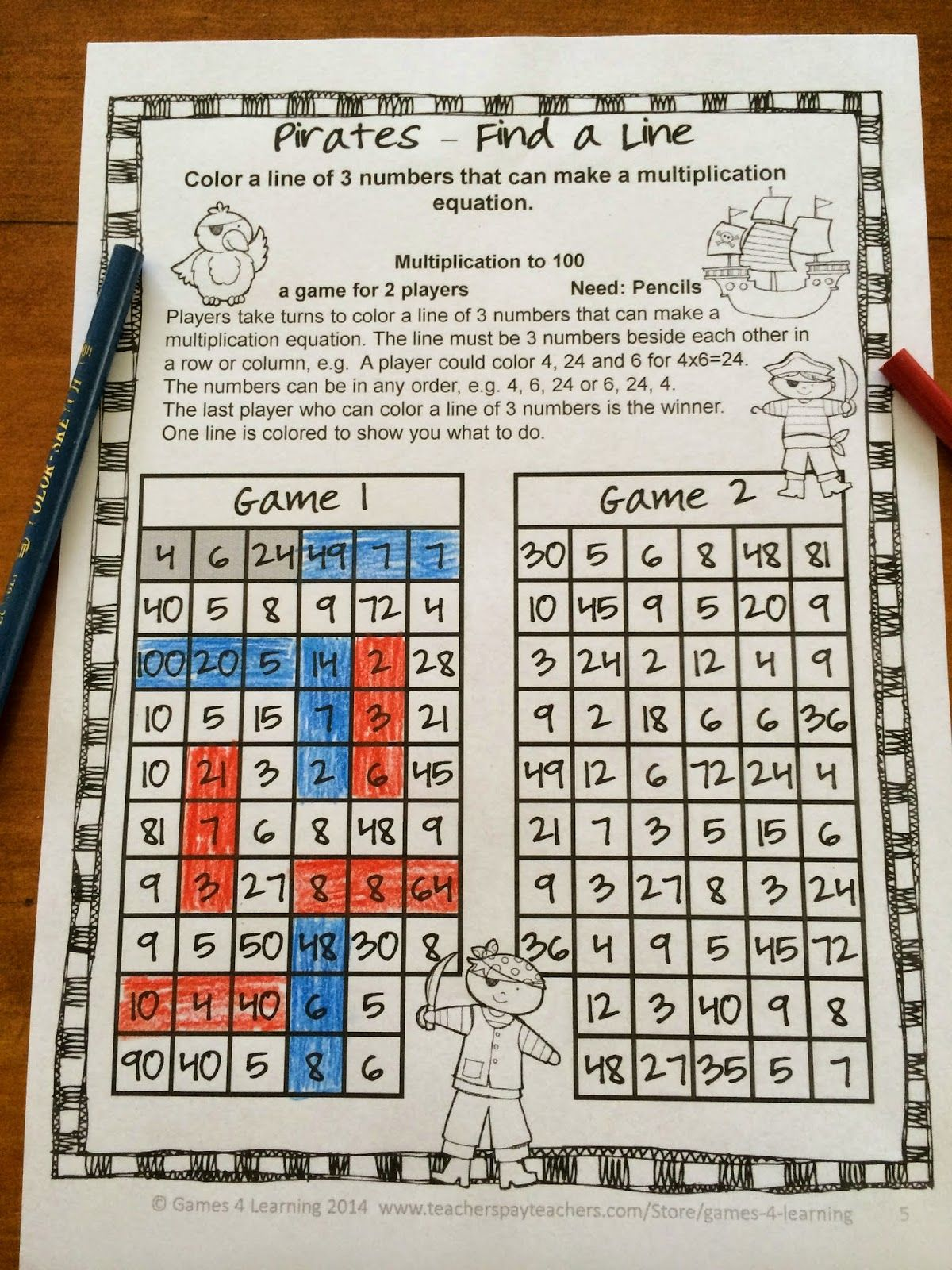 This Game Sheet Is From My Multiplication No Prep Games Freebie It Has The Players Search For A