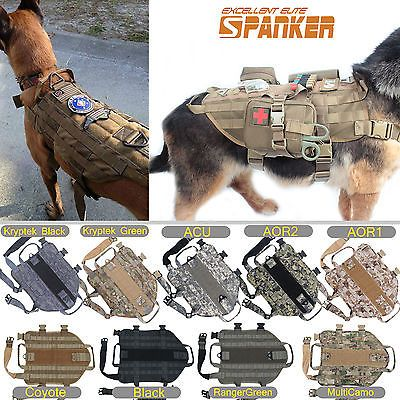 Details About Tactical Dog K9 Training Molle Vest Harness 5 Sizes