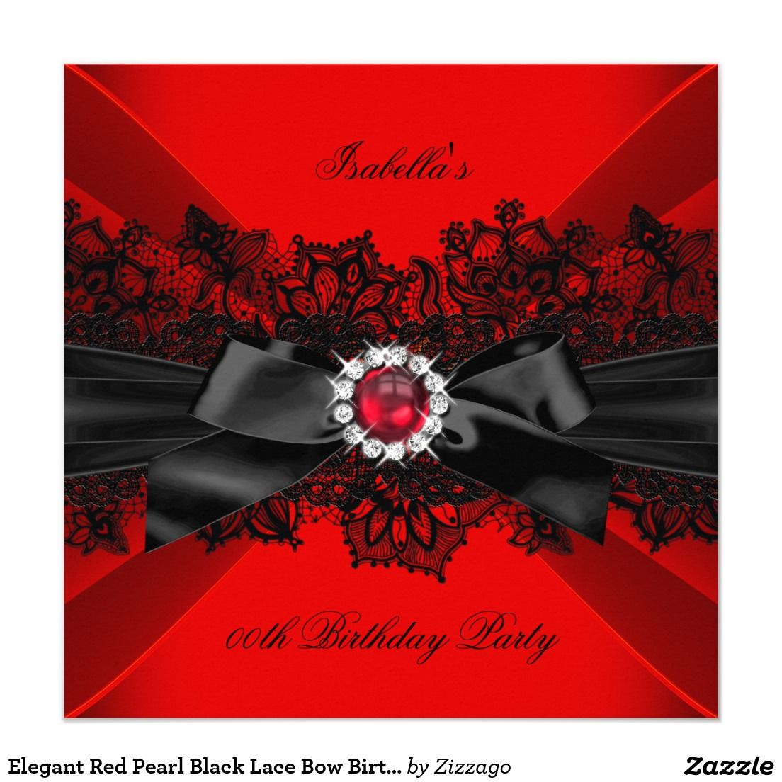 Elegant Red Pearl Black Lace Bow Birthday Party Invitation | Lace ...