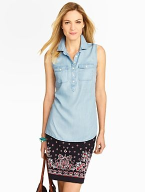 Talbots - Sleeveless Denim Shirt   Blouses and Shirts   Misses