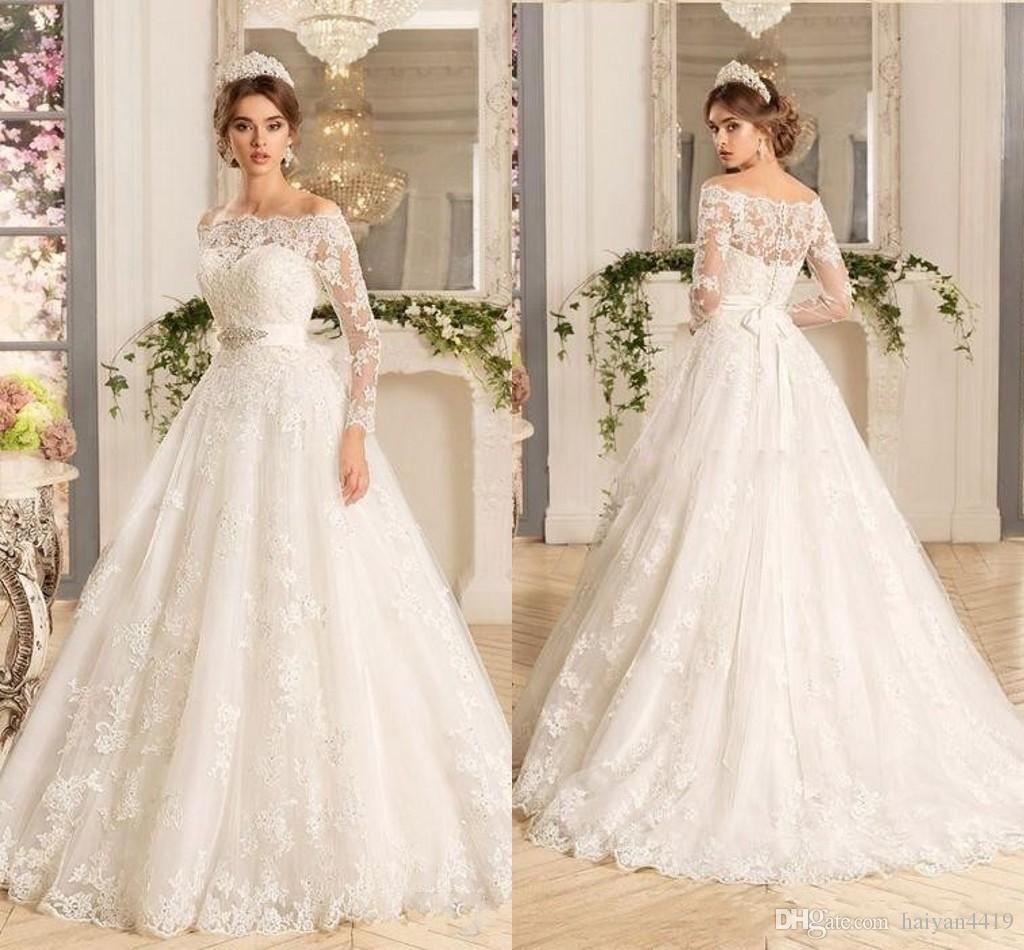 57c5f80dd5 2017 Cheap Modern A Line Wedding Dresses Off Shoulder Long Sleeves ...