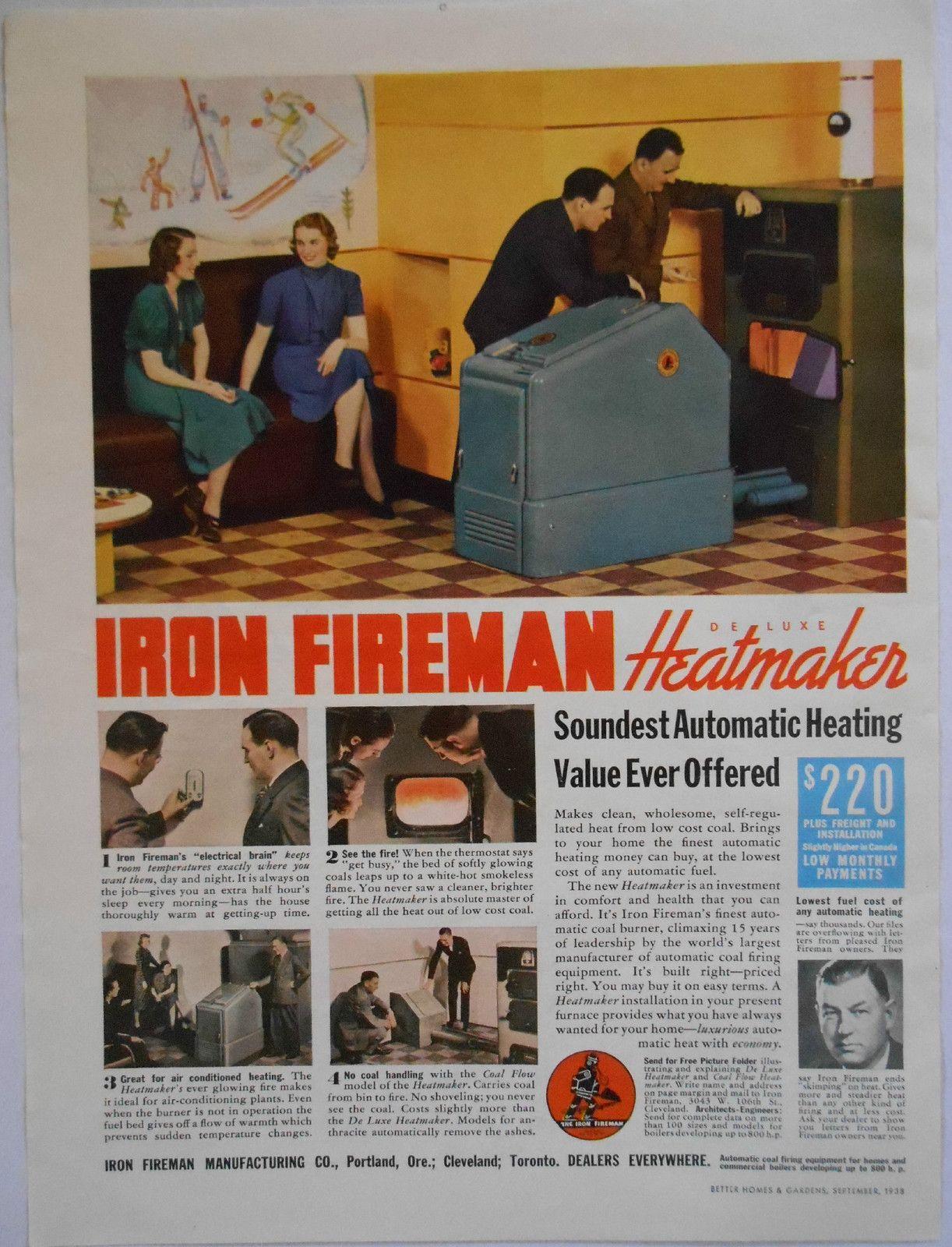 1938 Vintage Ad Iron Fireman Heatmaker Furnace with