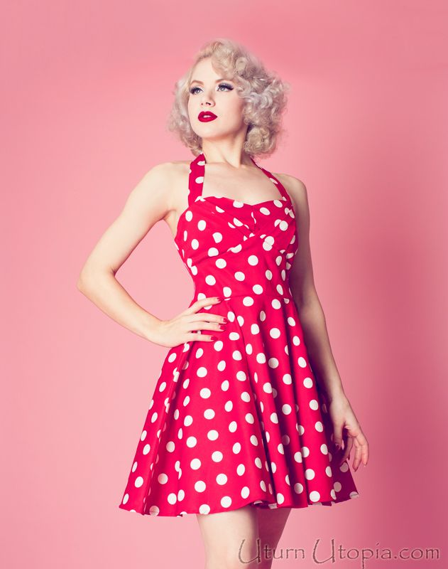 Red Polka Dot Vintage Style Halter Dress / Pin Up Rockabilly ...