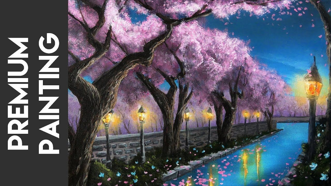 Painting Spring Cherry Trees Along A Canal A Premium Acrylic Lesson Youtube Cherry Blossom Painting Beautiful Paintings Cherry Blossom Tree