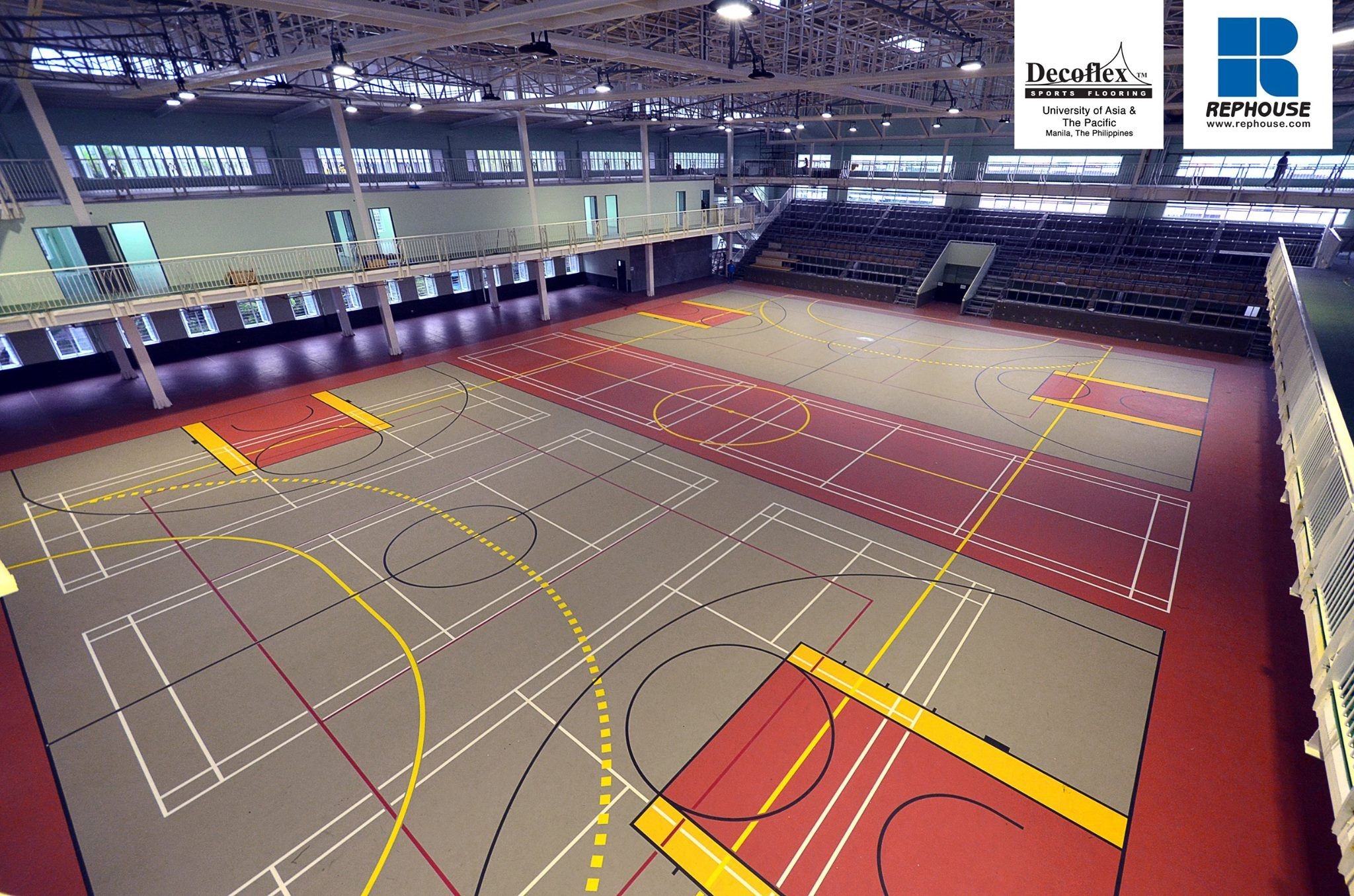 Decoflex Univsersal Seamless Polyurethane Indoor Sports Flooring For Futsal Basketball Volleyball And Handball Unive Basketball Floor Sports Complex Sports