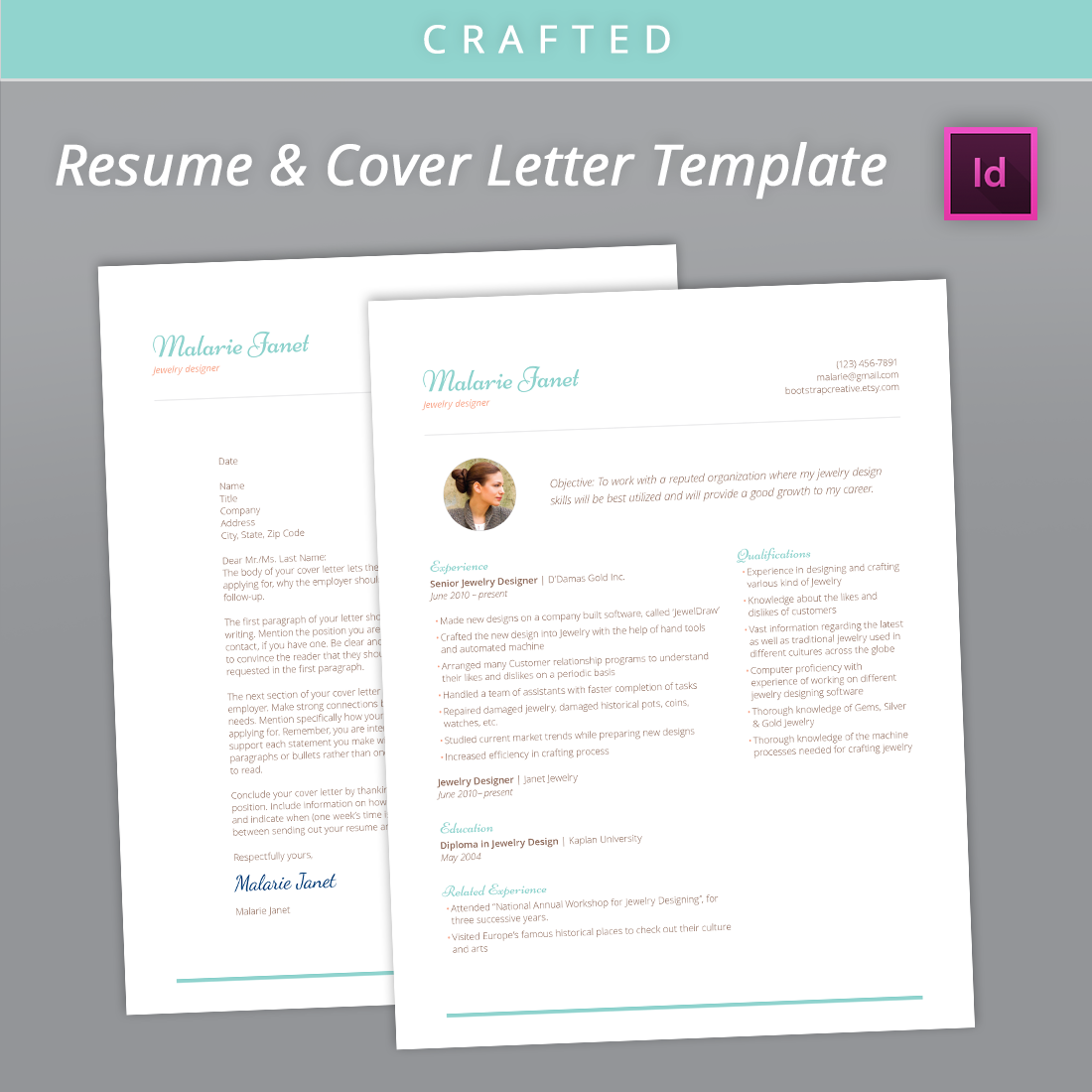 Crafted Resume And Cover Letter Indesign Template  Resume