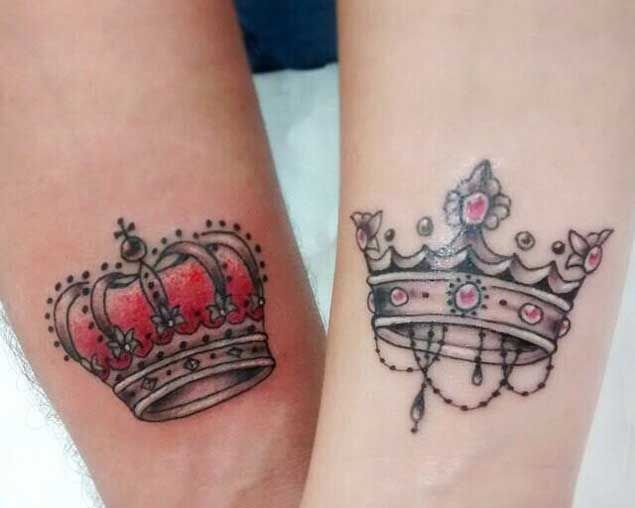 40 king queen tattoos that will instantly make your relationship rh pinterest com king and queen crowns tattoo design king and queen crowns tattoo design