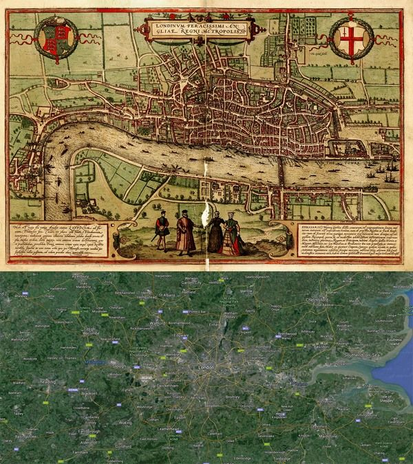 #London, #England #Map: Then(1572) And Now(2016
