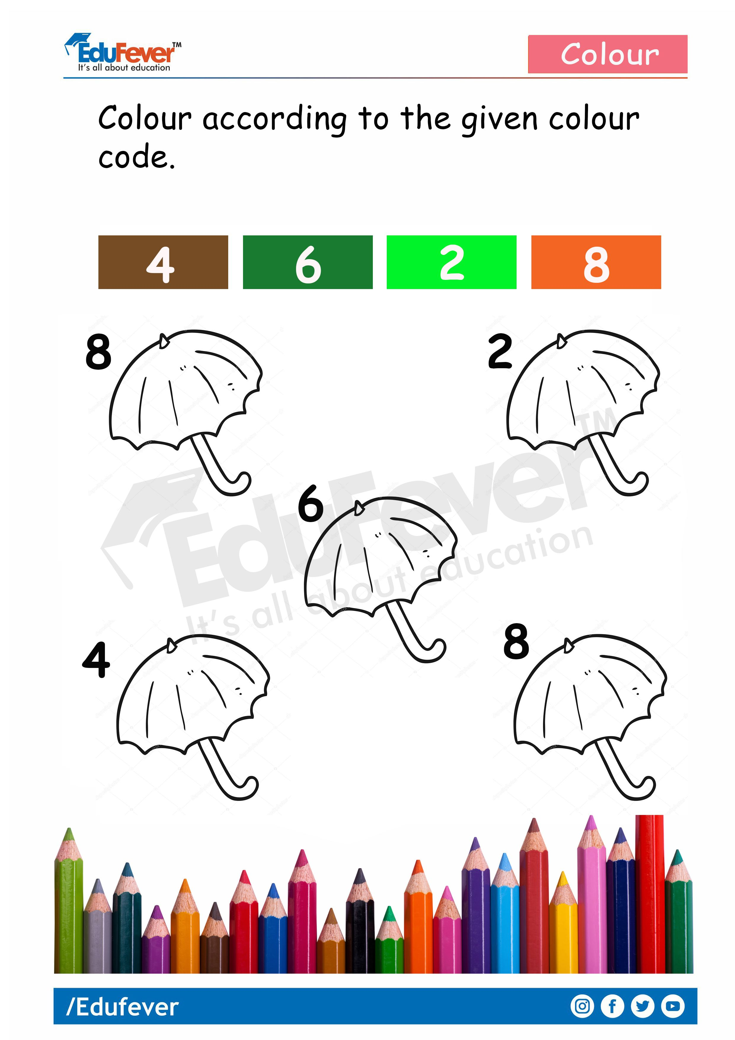 Color The Object According To Their Number Lkg Worksheet