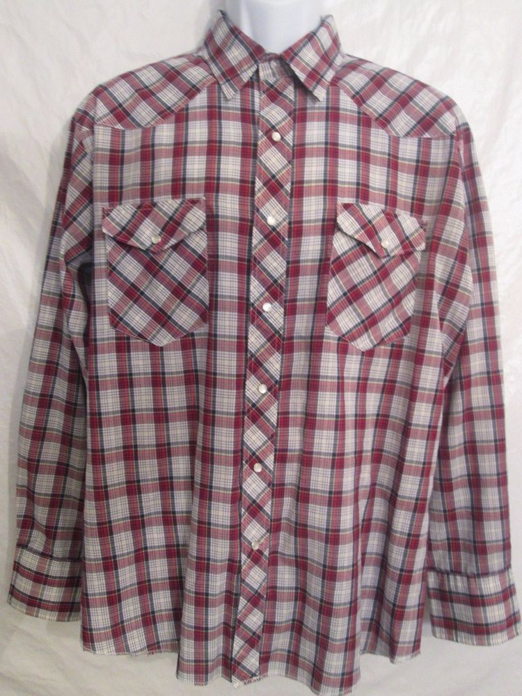 Size Large *Wrangler* *Western Shirt* Men's Plaid Pearl Snaps Long Sleeve  #Wrangler #Western