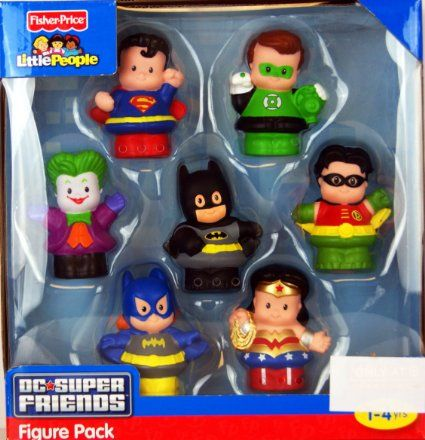 Amazon.com : Fisher Price Little People DC Super Friends Exclusive Figure Pack of 7 : Toy Figures : Toys & Games