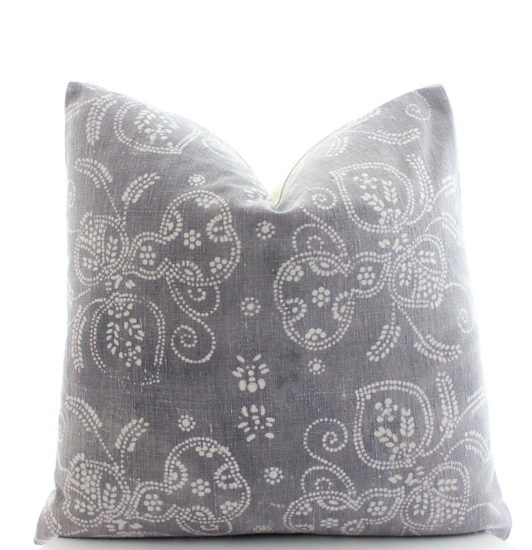 Chinese gray batik pillow cover boho pillow vintage textile